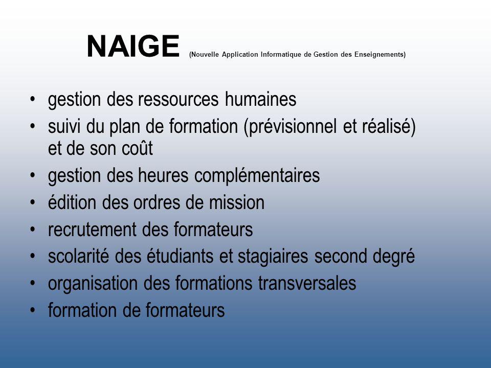 NAIGE (Nouvelle Application Informatique de Gestion des Enseignements) gestion des ressources humaines suivi du plan de formation (prévisionnel et réa