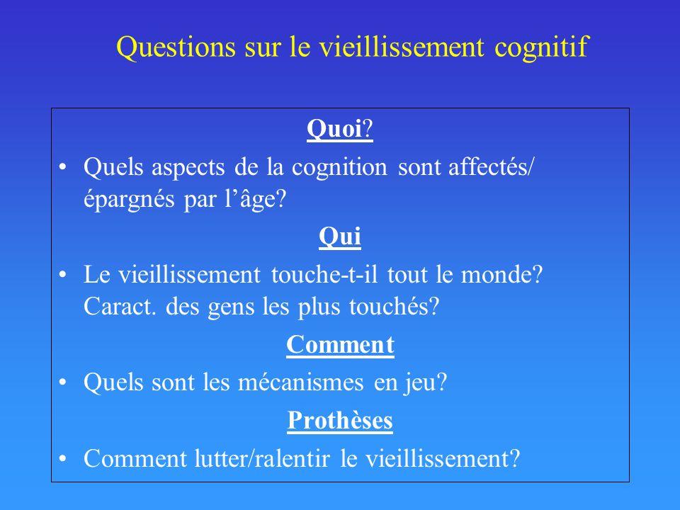 Questions sur le vieillissement cognitif Quoi? Quels aspects de la cognition sont affectés/ épargnés par lâge? Qui Le vieillissement touche-t-il tout