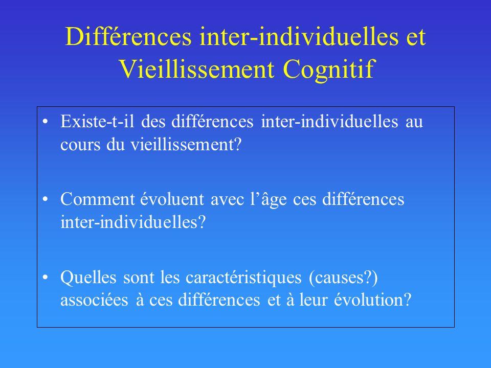 Différences inter-individuelles et Vieillissement Cognitif Existe-t-il des différences inter-individuelles au cours du vieillissement? Comment évoluen