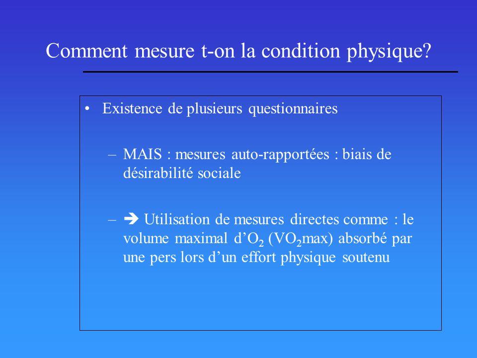 Comment mesure t-on la condition physique? Existence de plusieurs questionnaires –MAIS : mesures auto-rapportées : biais de désirabilité sociale – Uti
