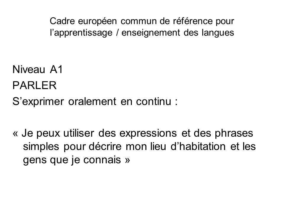 Cadre européen commun de référence pour lapprentissage / enseignement des langues Niveau A1 PARLER Sexprimer oralement en continu : « Je peux utiliser