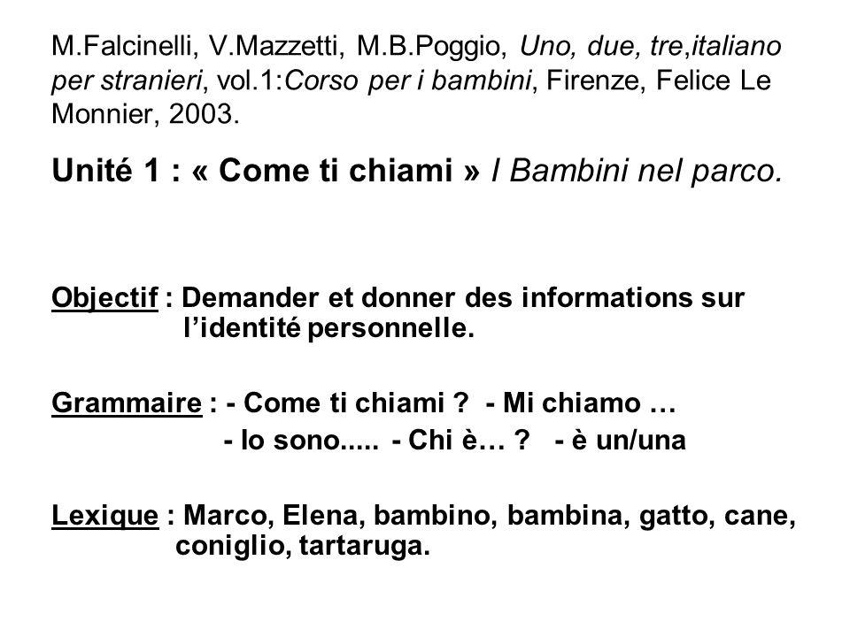 M.Falcinelli, V.Mazzetti, M.B.Poggio, Uno, due, tre,italiano per stranieri, vol.1:Corso per i bambini, Firenze, Felice Le Monnier, 2003. Unité 1 : « C