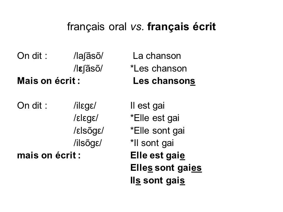 français oral vs. français écrit On dit : /la ʃ ãsõ/ La chanson /lε ʃ ãsõ/ *Les chanson Mais on écrit : Les chansons On dit : /ilεgε/ Il est gai /εlεg