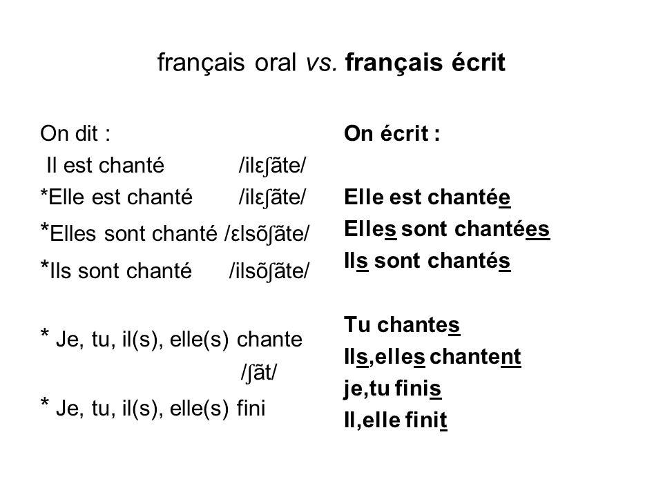 français oral vs. français écrit On dit : Il est chanté /ilε ʃ ãte/ *Elle est chanté /ilε ʃ ãte/ * Elles sont chanté /εlsõ ʃ ãte/ * Ils sont chanté /i