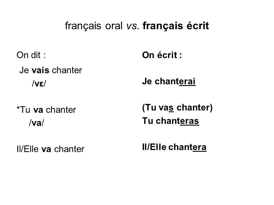 français oral vs. français écrit On dit : Je vais chanter /vε/ *Tu va chanter /va/ Il/Elle va chanter On écrit : Je chanterai (Tu vas chanter) Tu chan