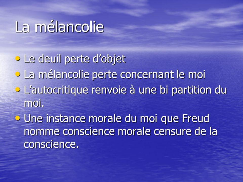 La mélancolie Le deuil perte dobjet Le deuil perte dobjet La mélancolie perte concernant le moi La mélancolie perte concernant le moi Lautocritique renvoie à une bi partition du moi.