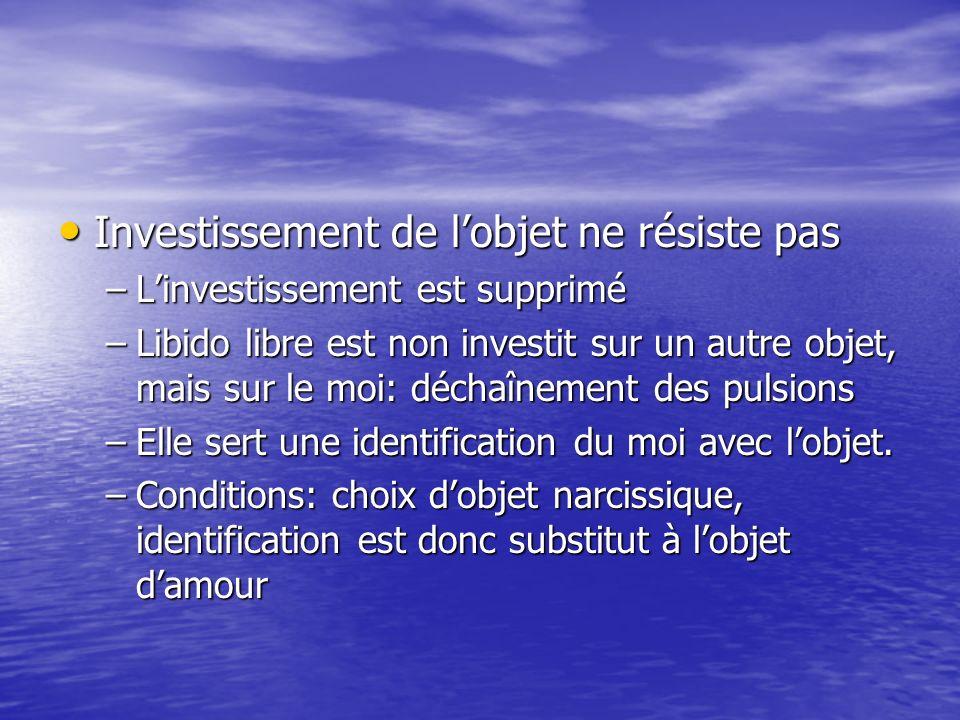 Investissement de lobjet ne résiste pas Investissement de lobjet ne résiste pas –Linvestissement est supprimé –Libido libre est non investit sur un autre objet, mais sur le moi: déchaînement des pulsions –Elle sert une identification du moi avec lobjet.