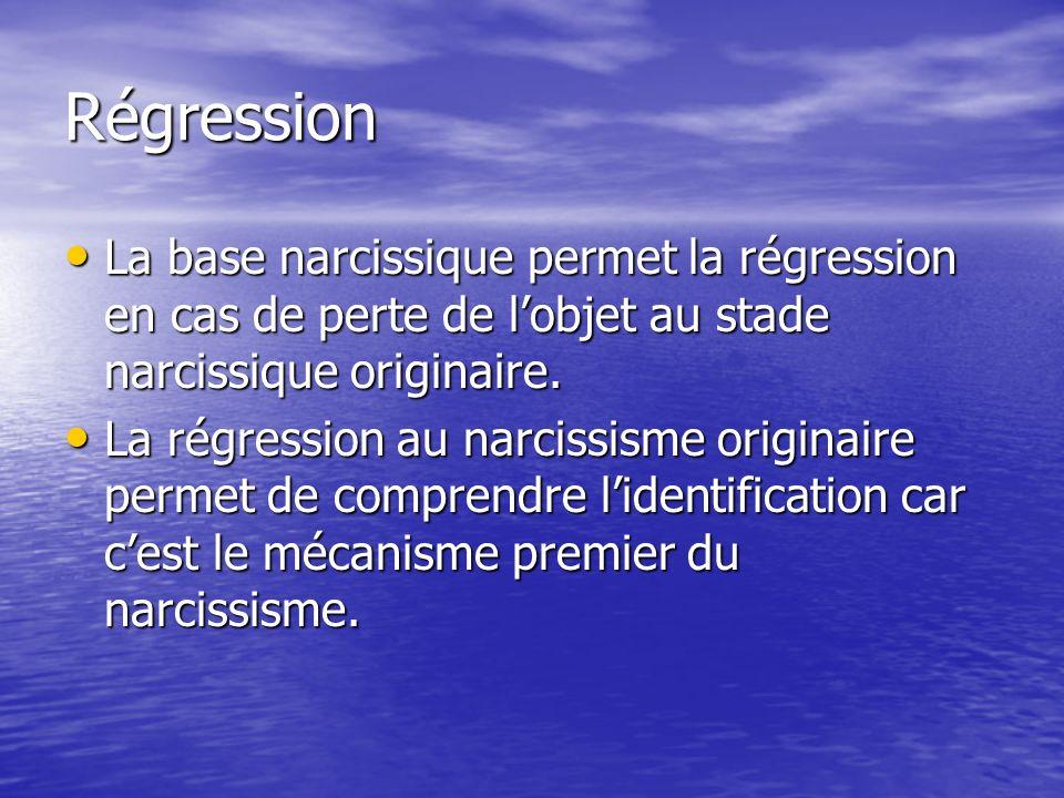 Régression La base narcissique permet la régression en cas de perte de lobjet au stade narcissique originaire. La base narcissique permet la régressio