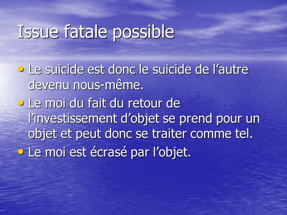 Issue fatale possible Le suicide est donc le suicide de lautre devenu nous-même. Le suicide est donc le suicide de lautre devenu nous-même. Le moi du