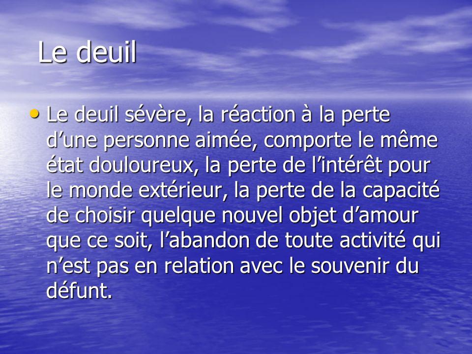 Le deuil Le deuil Le deuil sévère, la réaction à la perte dune personne aimée, comporte le même état douloureux, la perte de lintérêt pour le monde ex