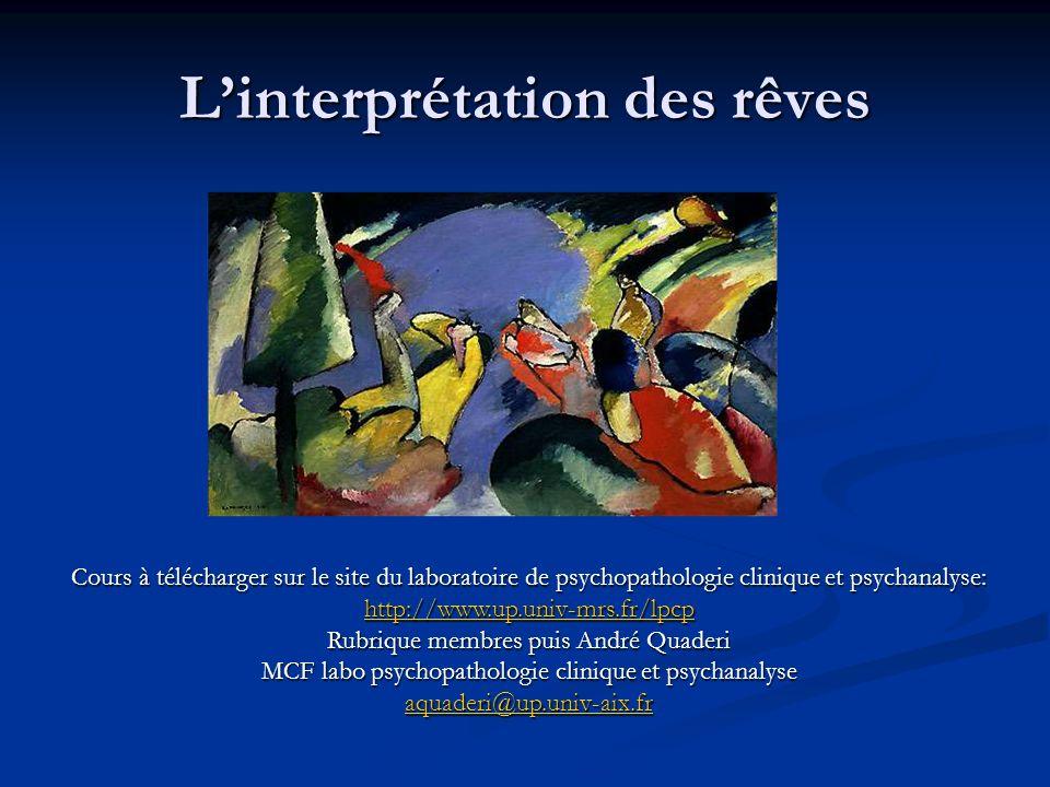Linterprétation (des rêves) Linterprétation, terme utilisé par Sigmund Freud pour expliquer la manière dont la psychanalyse peut donner une signification au contenu du rêve afin de mettre au jour le désir inconscient dun sujet.