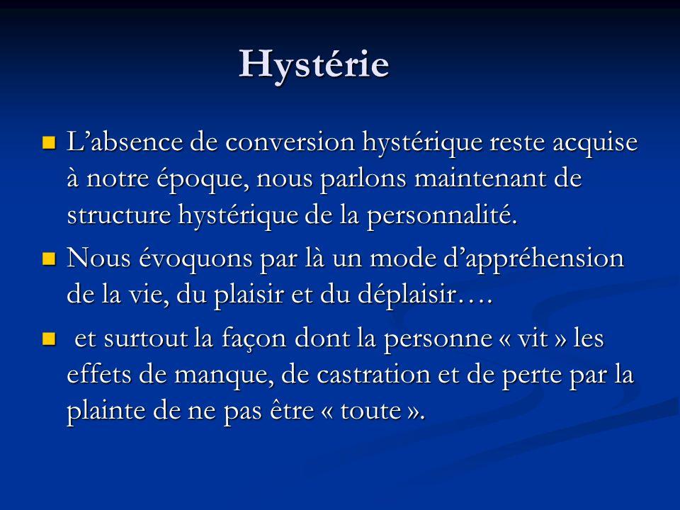 Hystérie Labsence de conversion hystérique reste acquise à notre époque, nous parlons maintenant de structure hystérique de la personnalité. Labsence