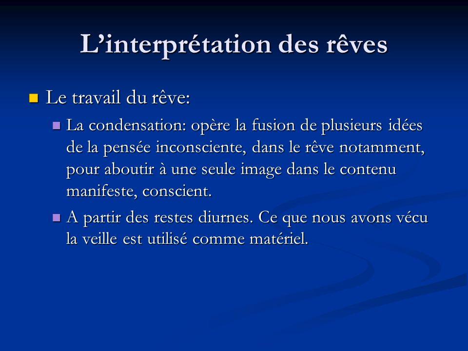Linterprétation des rêves La condensation: La condensation: Comparer le contenu du rêve et les pensées de rêves permet de comprendre limmense travail de condensation.