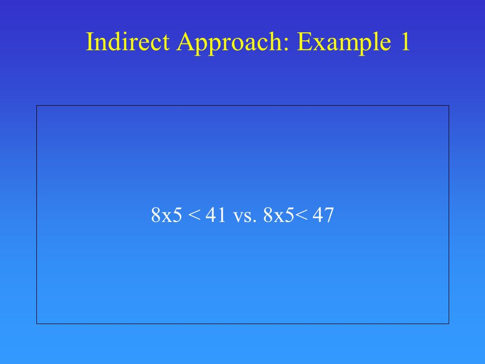 Indirect Approach: Example 1 8x5 < 41 vs. 8x5< 47