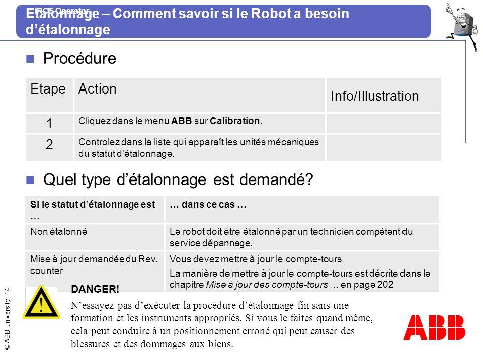 © ABB University -14 IRC5 Operator Etalonnage – Comment savoir si le Robot a besoin détalonnage Procédure EtapeAction Info/Illustration 1 Cliquez dans
