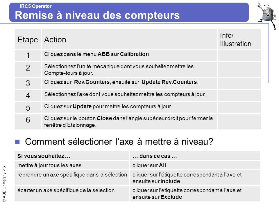 © ABB University -16 IRC5 Operator Remise à niveau des compteurs EtapeAction Info/ Illustration 1 Cliquez dans le menu ABB sur Calibration 2 Sélection