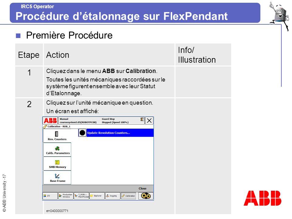 © ABB University -17 IRC5 Operator Procédure détalonnage sur FlexPendant Première Procédure EtapeAction Info/ Illustration 1 Cliquez dans le menu ABB