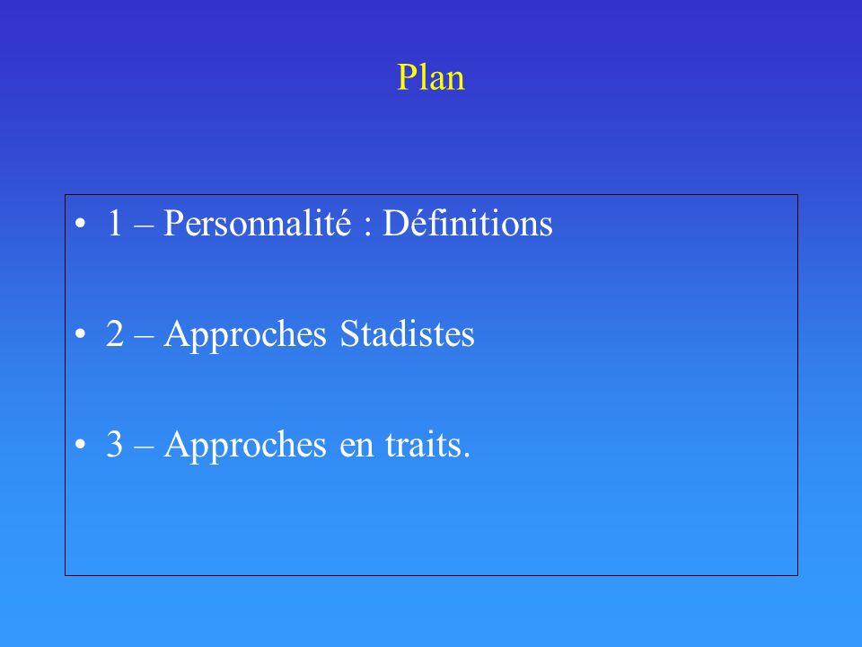 Plan 1 – Personnalité : Définitions 2 – Approches Stadistes 3 – Approches en traits.