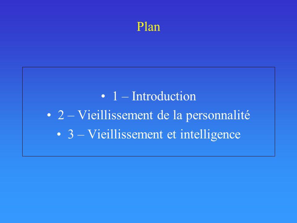 Plan 1 – Introduction 2 – Vieillissement de la personnalité 3 – Vieillissement et intelligence