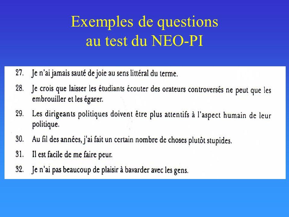 Exemples de questions au test du NEO-PI