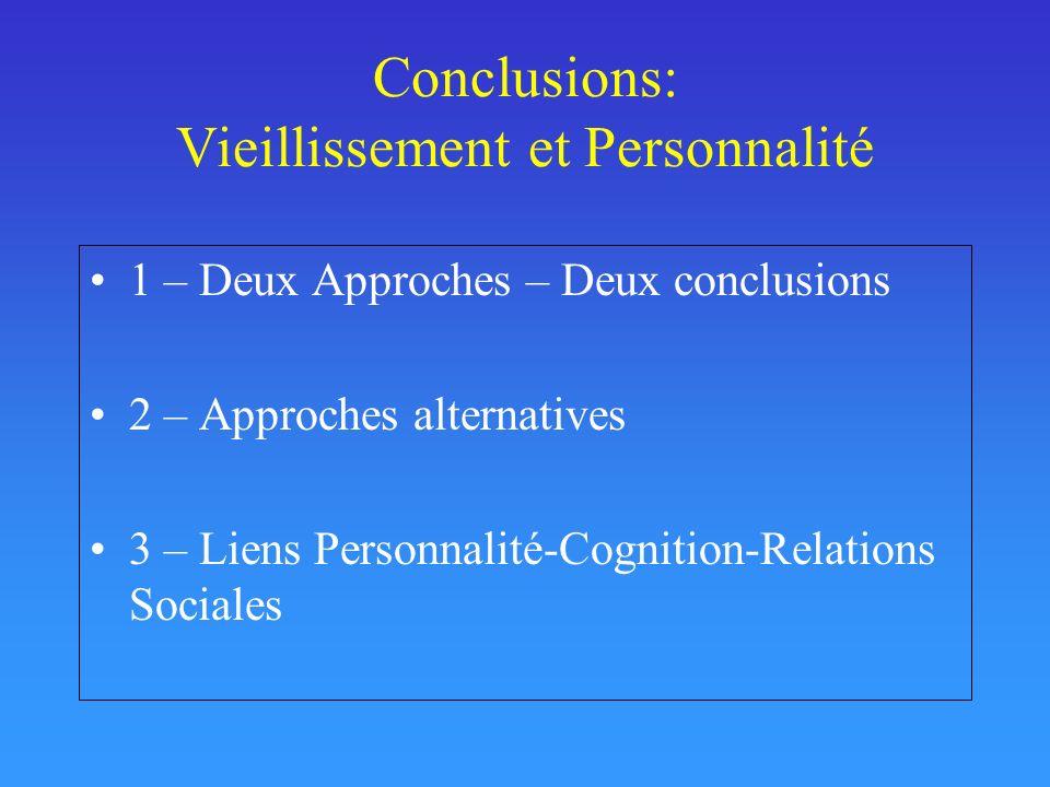Conclusions: Vieillissement et Personnalité 1 – Deux Approches – Deux conclusions 2 – Approches alternatives 3 – Liens Personnalité-Cognition-Relation