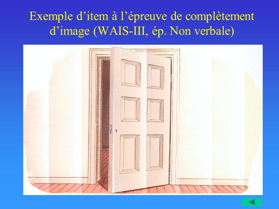 Exemple ditem à lépreuve de complètement dimage (WAIS-III, ép. Non verbale)