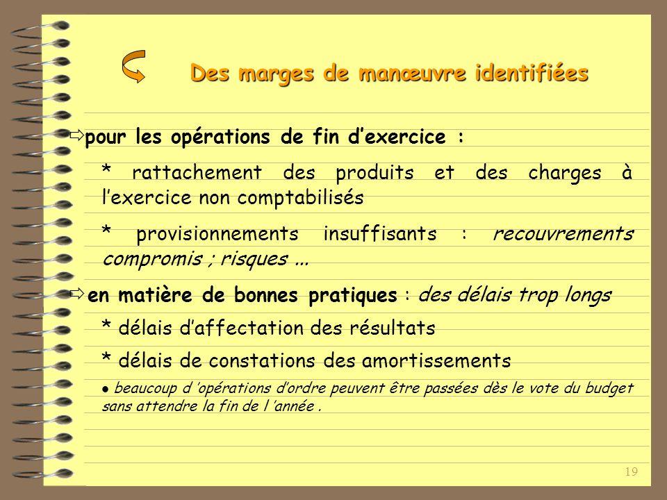 19 pour les opérations de fin dexercice : * rattachement des produits et des charges à lexercice non comptabilisés * provisionnements insuffisants : recouvrements compromis ; risques...