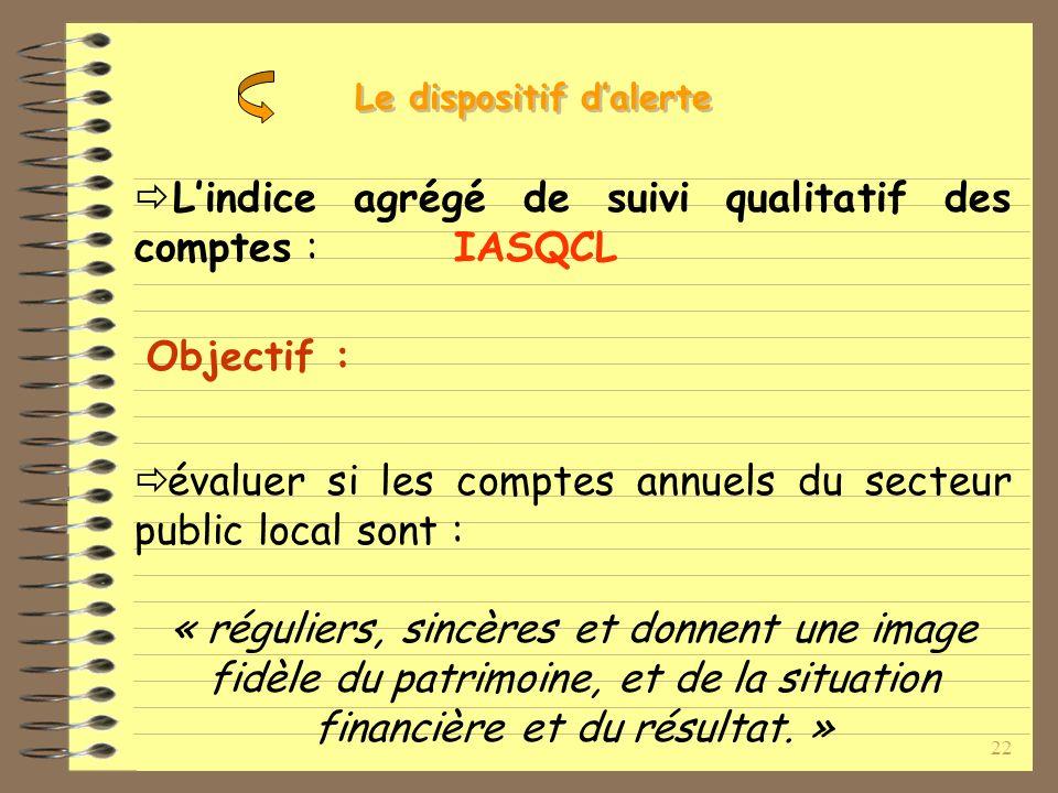 22 Lindice agrégé de suivi qualitatif des comptes : IASQCL Objectif : évaluer si les comptes annuels du secteur public local sont : « réguliers, sincères et donnent une image fidèle du patrimoine, et de la situation financière et du résultat.