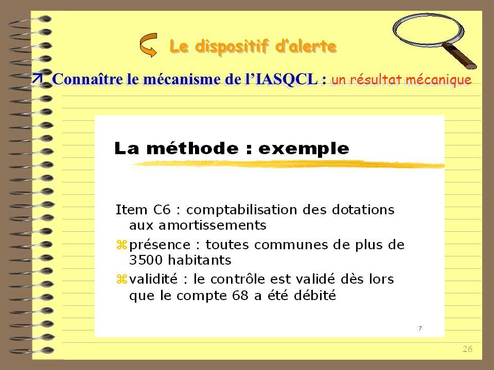 26 Connaître le mécanisme de lIASQCL : un résultat mécanique Le dispositif dalerte