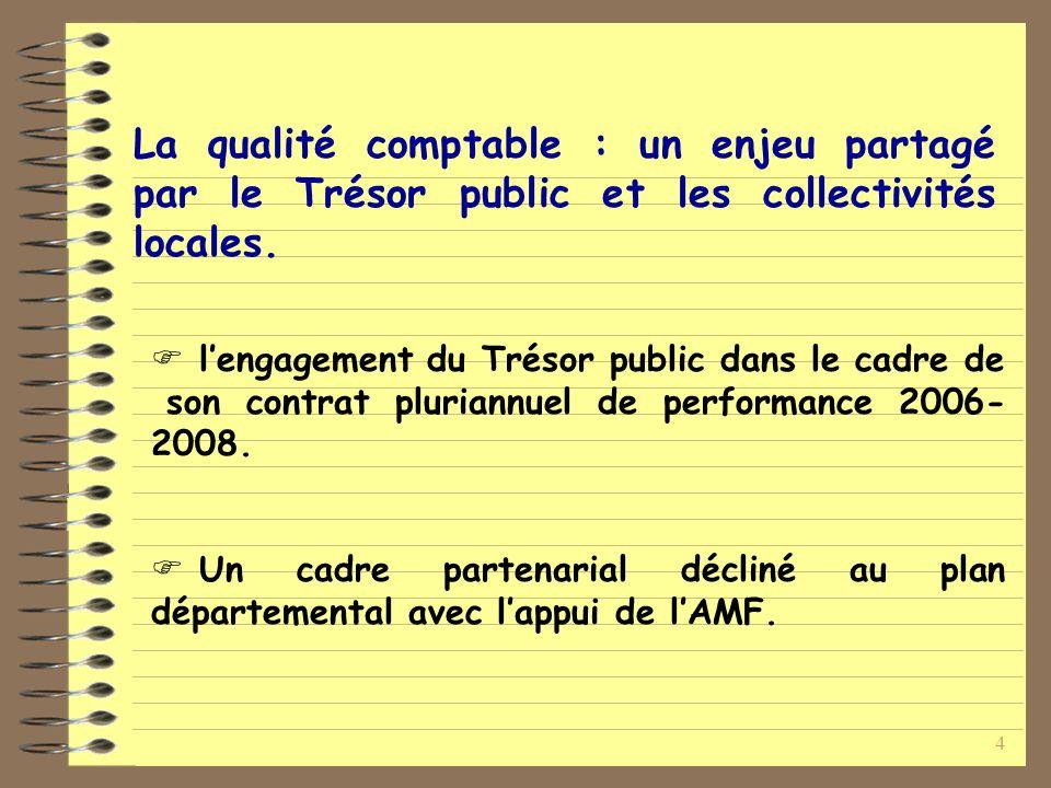 4 La qualité comptable : un enjeu partagé par le Trésor public et les collectivités locales.