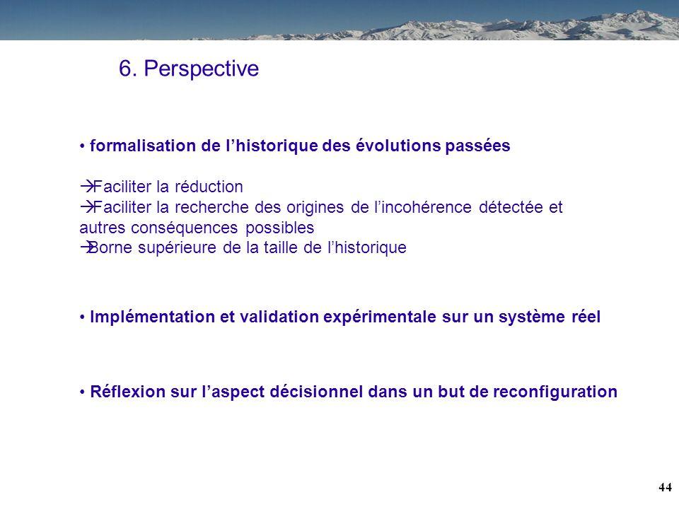 43 6. Conclusion Processus dhistorisation des informations Mécanisme de réduction de cet historique Caractérisation de la disponibilité dun service Ca