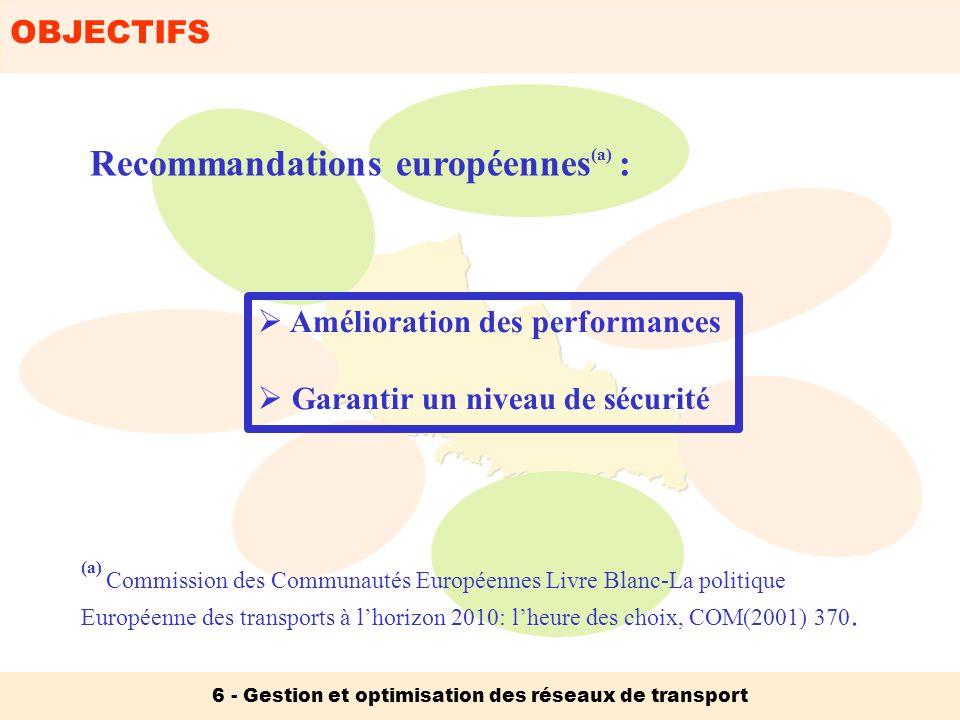 OBJECTIFS 6 - Gestion et optimisation des réseaux de transport Optimisation des performances des réseaux Services Ressources (Personnel, matériel roulant, infrastructures, …) Risques Contraintes