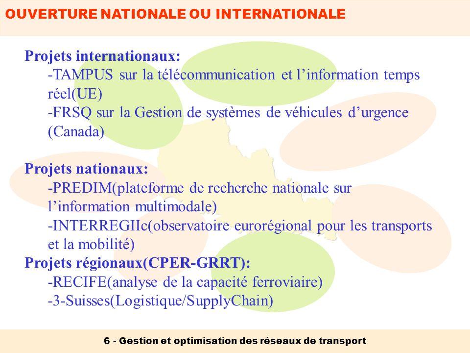 OUVERTURE NATIONALE OU INTERNATIONALE 6 - Gestion et optimisation des réseaux de transport Projets internationaux: -TAMPUS sur la télécommunication et
