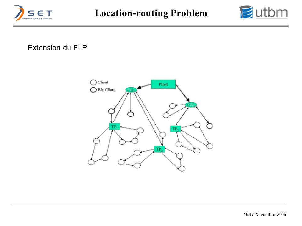 16-17 Novembre 2006 Extension du FLP Location-routing Problem