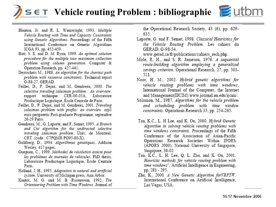 16-17 Novembre 2006 Vehicle routing Problem : bibliographie