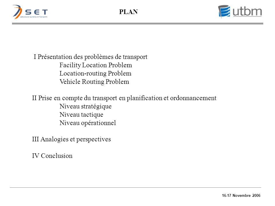 16-17 Novembre 2006 I Présentation des problèmes de transport Facility Location Problem Location-routing Problem Vehicle Routing Problem II Prise en c