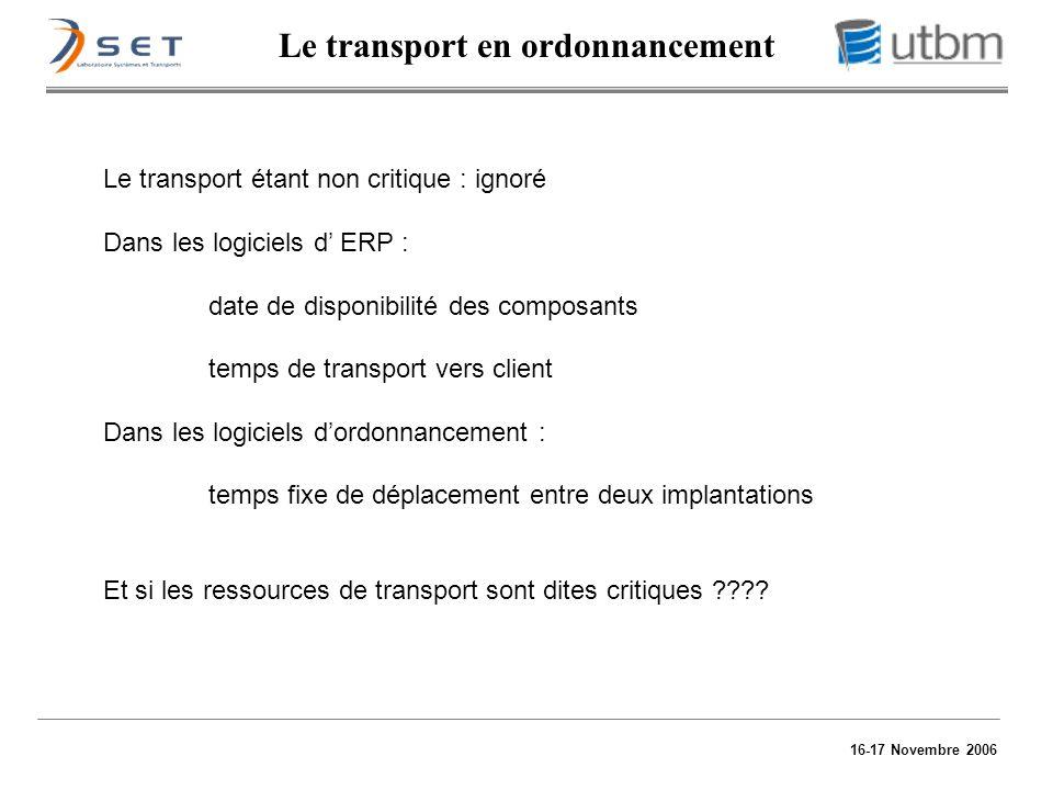 16-17 Novembre 2006 Le transport en ordonnancement Le transport étant non critique : ignoré Dans les logiciels d ERP : date de disponibilité des compo