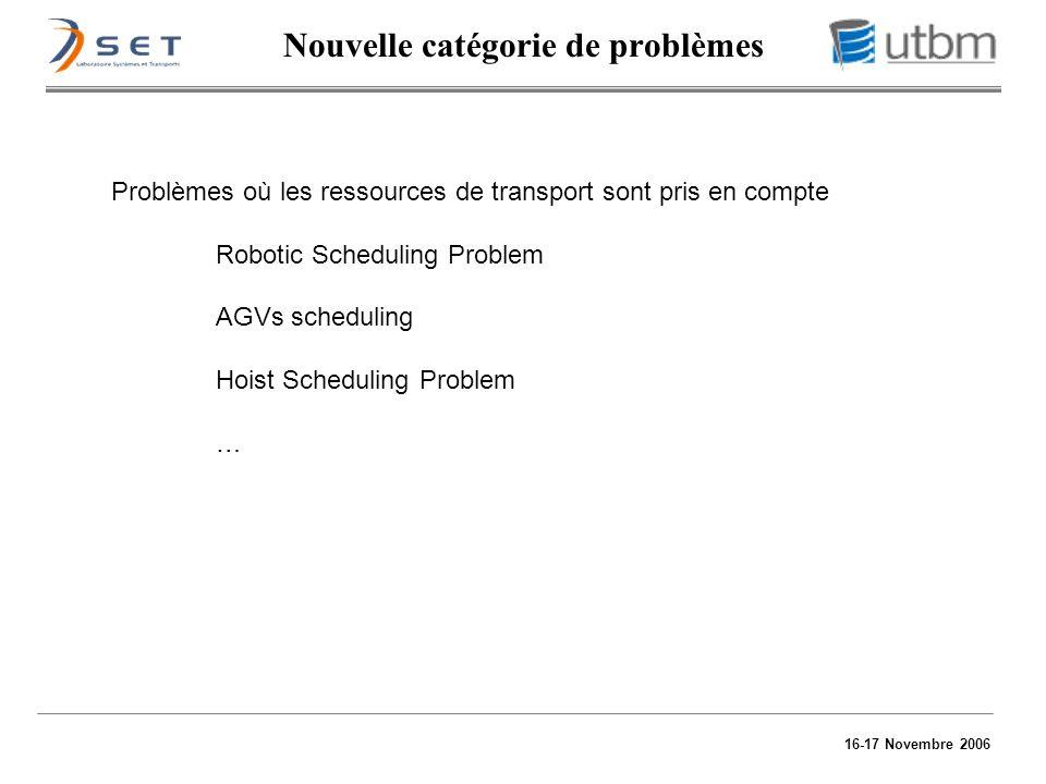 16-17 Novembre 2006 Nouvelle catégorie de problèmes Problèmes où les ressources de transport sont pris en compte Robotic Scheduling Problem AGVs sched