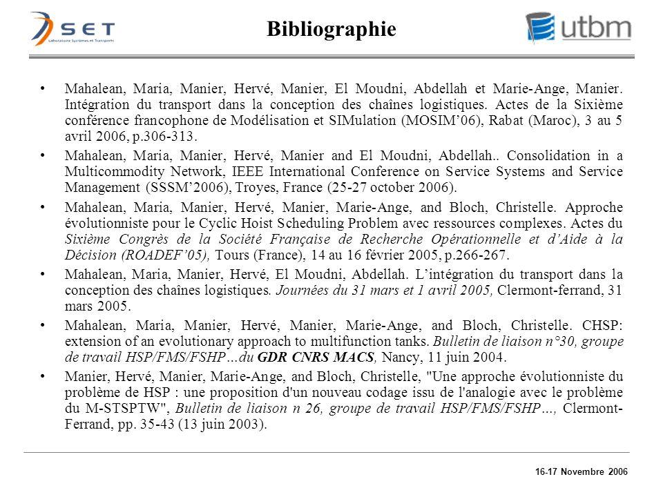 16-17 Novembre 2006 Bibliographie Mahalean, Maria, Manier, Hervé, Manier, El Moudni, Abdellah et Marie-Ange, Manier. Intégration du transport dans la