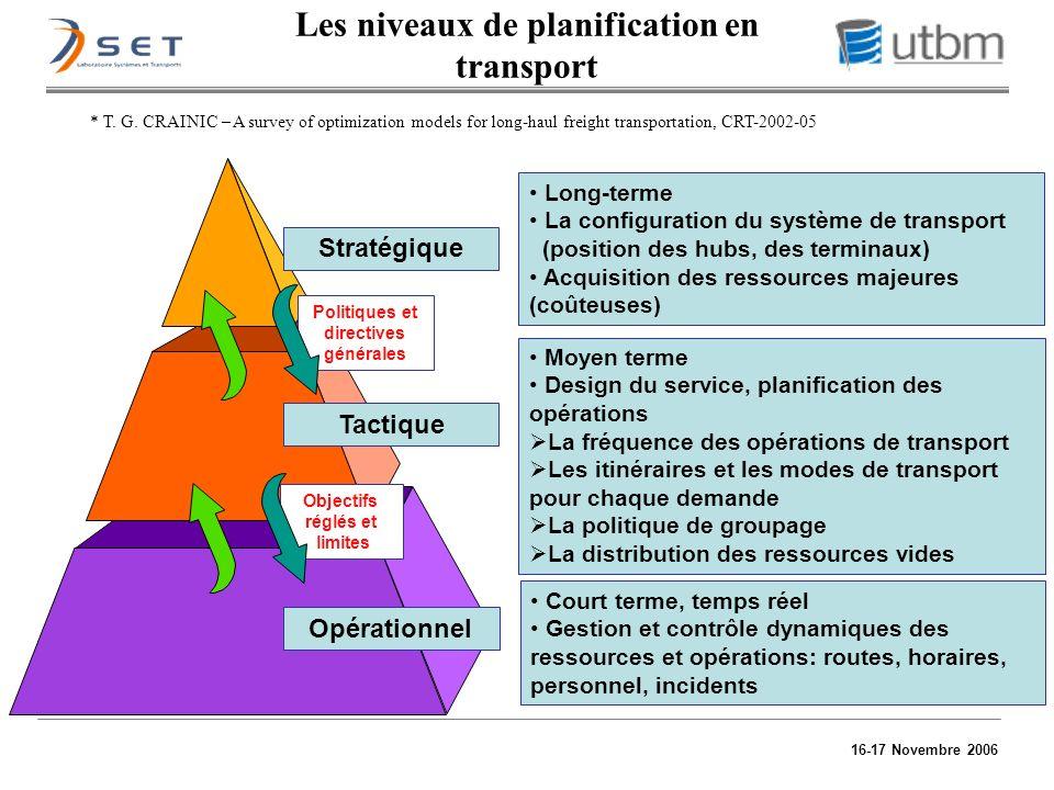 16-17 Novembre 2006 Moyen terme Design du service, planification des opérations La fréquence des opérations de transport Les itinéraires et les modes