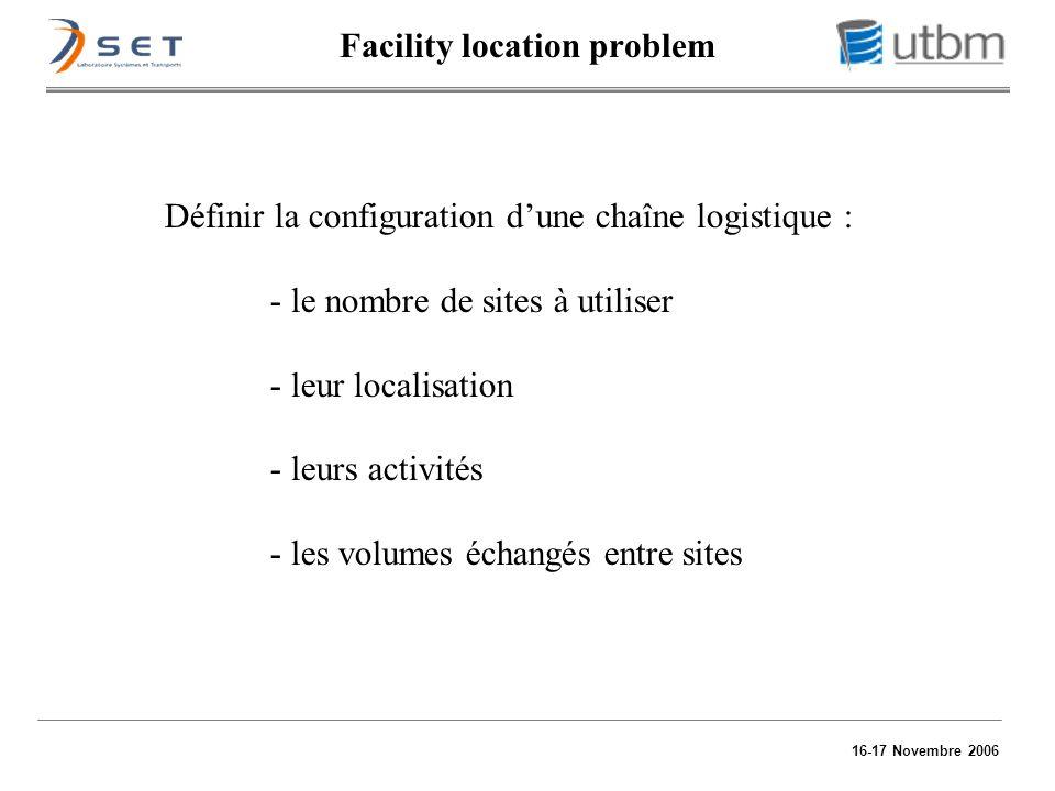 16-17 Novembre 2006 Définir la configuration dune chaîne logistique : - le nombre de sites à utiliser - leur localisation - leurs activités - les volu