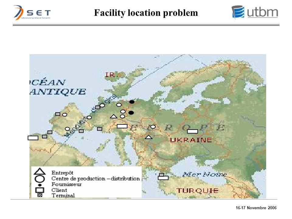16-17 Novembre 2006 Facility location problem