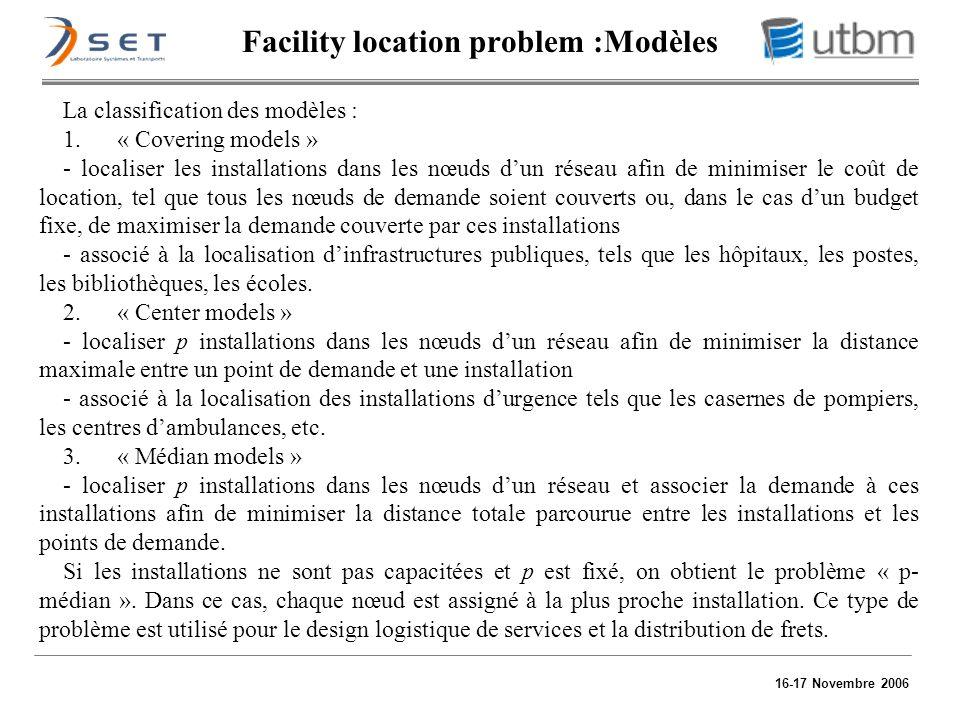 16-17 Novembre 2006 La classification des modèles : 1. « Covering models » - localiser les installations dans les nœuds dun réseau afin de minimiser l