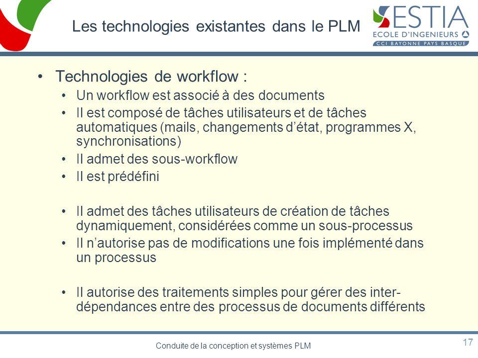 Conduite de la conception et systèmes PLM 17 Les technologies existantes dans le PLM Technologies de workflow : Un workflow est associé à des document