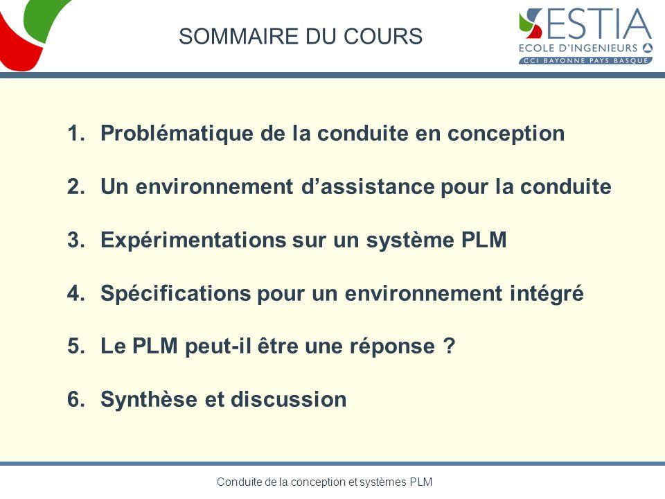 Conduite de la conception et systèmes PLM SOMMAIRE DU COURS 1.Problématique de la conduite en conception 2.Un environnement dassistance pour la condui
