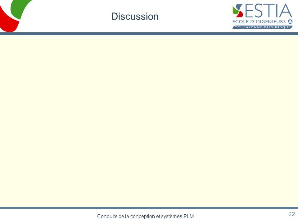 Conduite de la conception et systèmes PLM 22 Discussion
