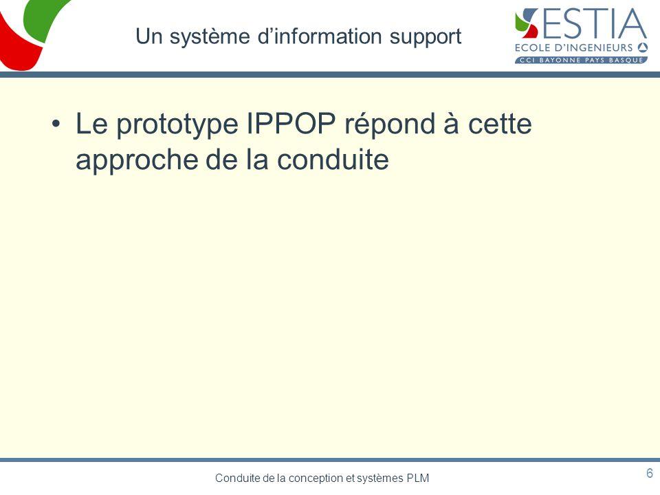 Conduite de la conception et systèmes PLM 6 Un système dinformation support Le prototype IPPOP répond à cette approche de la conduite