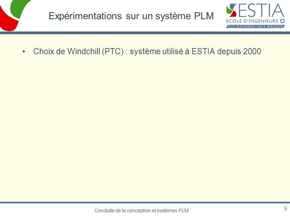 Conduite de la conception et systèmes PLM 9 Expérimentations sur un système PLM Choix de Windchill (PTC) : système utilisé à ESTIA depuis 2000