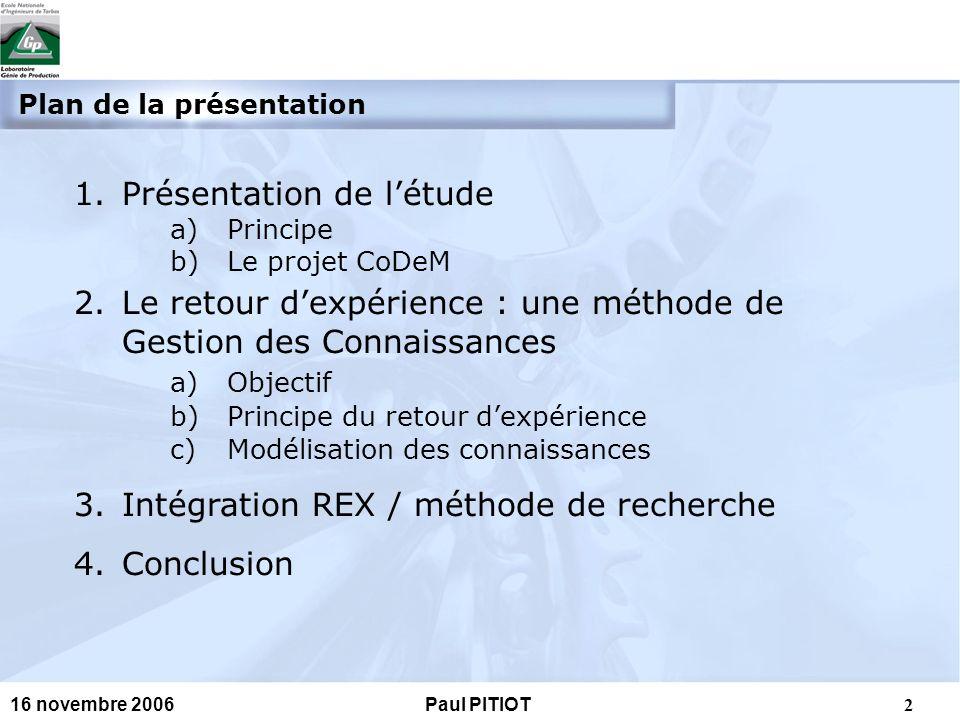 3 16 novembre 2006Paul PITIOT a.Principe : 1. Présentation 2.