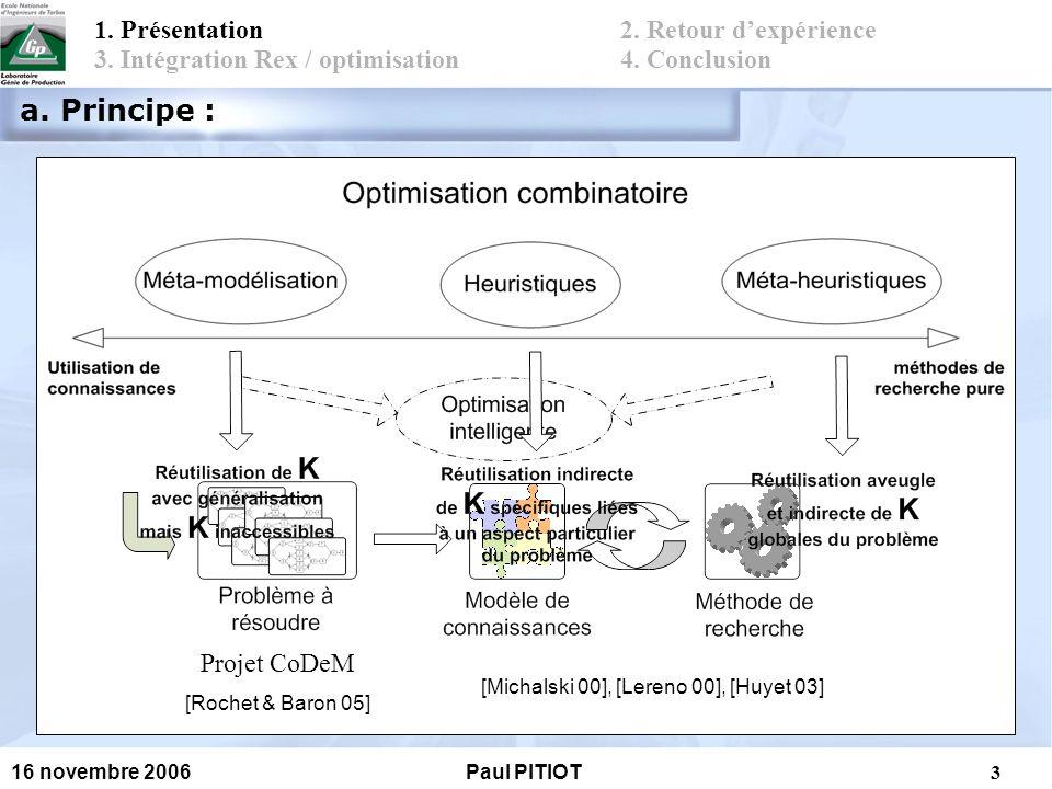 4 16 novembre 2006Paul PITIOT Méthode de recherche utilisée : Algorithmes évolutionnaires Méthode SPEA ( Strength Pareto Evolutionary Algoritm) Méthode de la roulette biaisée Front de Pareto 1.